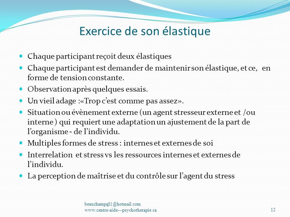 Exercice de son élastique Chaque participant reçoit deux élastiques Chaque participant est demander de maintenir son élastique, et ce, en forme de ten