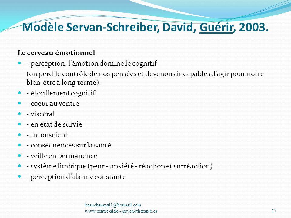 Modèle Servan-Schreiber, David, Guérir, 2003. Le cerveau émotionnel - perception, lémotion domine le cognitif (on perd le contrôle de nos pensées et d