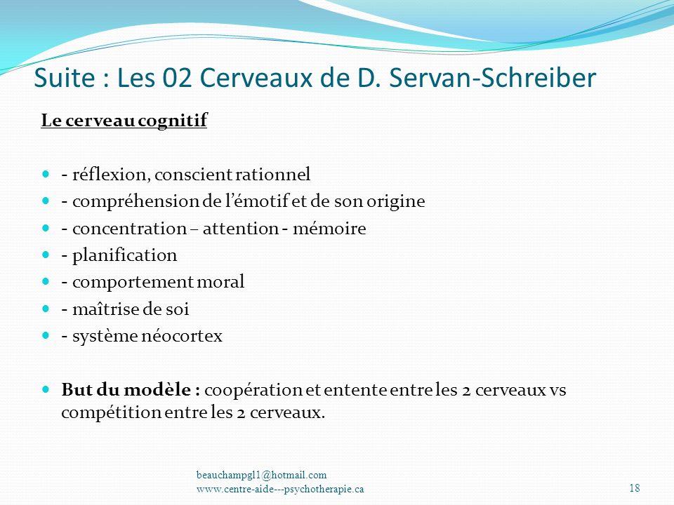 Suite : Les 02 Cerveaux de D. Servan-Schreiber Le cerveau cognitif - réflexion, conscient rationnel - compréhension de lémotif et de son origine - con