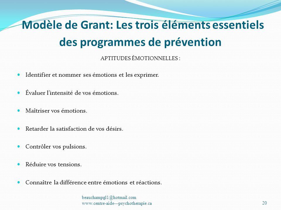 Modèle de Grant: Les éléments essentiels des programmes de prévention; Modèle de Grant: Les trois éléments essentiels des programmes de prévention APT