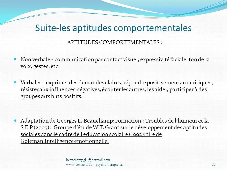 Suite-les aptitudes comportementales APTITUDES COMPORTEMENTALES : Non verbale - communication par contact visuel, expressivité faciale, ton de la voix
