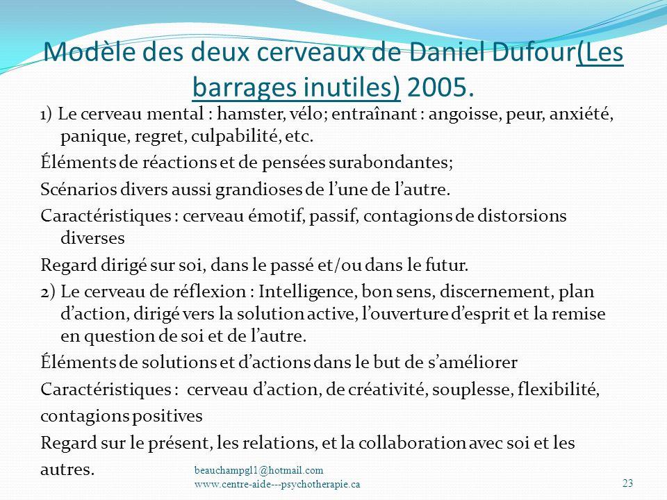Modèle des deux cerveaux de Daniel Dufour(Les barrages inutiles) 2005. 1) Le cerveau mental : hamster, vélo; entraînant : angoisse, peur, anxiété, pan