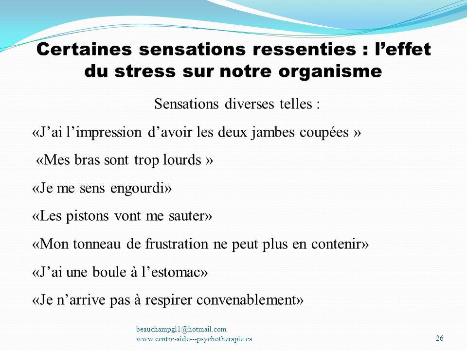 Certaines sensations ressenties : leffet du stress sur notre organisme beauchampgl1@hotmail.com www.centre-aide---psychotherapie.ca26 Sensations diver