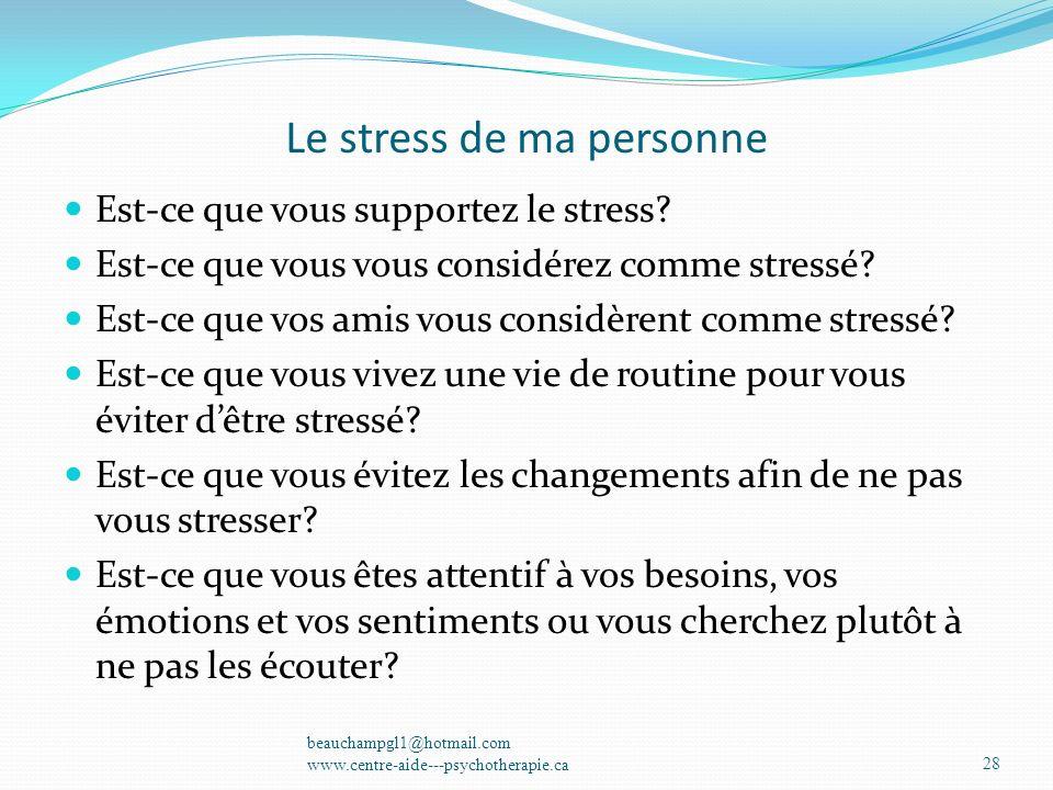 Le stress de ma personne Est-ce que vous supportez le stress? Est-ce que vous vous considérez comme stressé? Est-ce que vos amis vous considèrent comm