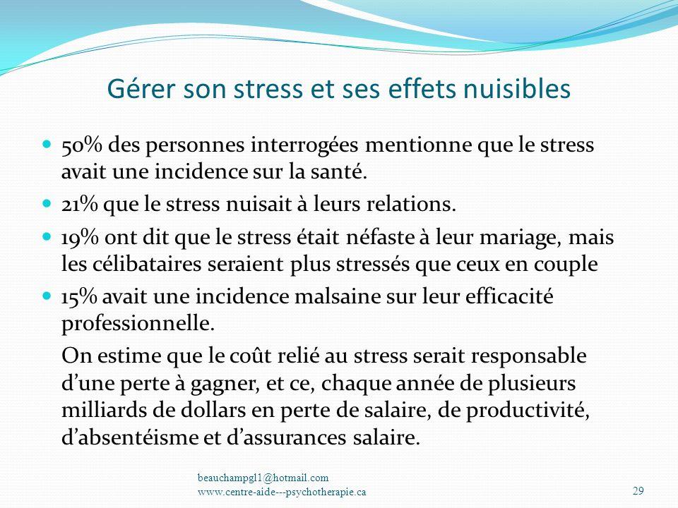 Gérer son stress et ses effets nuisibles 50% des personnes interrogées mentionne que le stress avait une incidence sur la santé. 21% que le stress nui