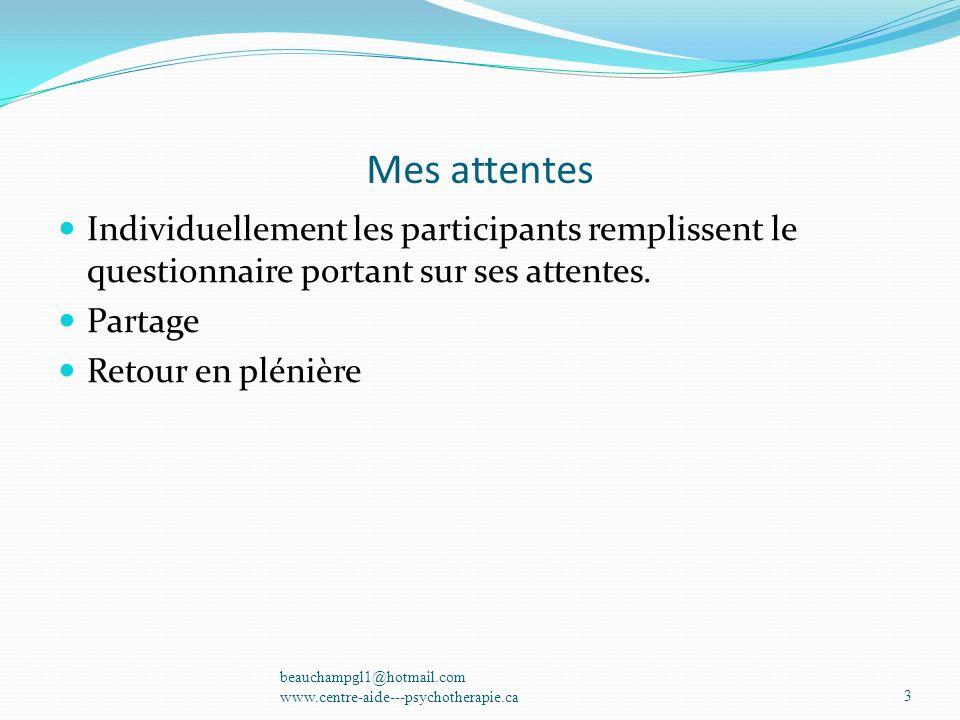 Mes attentes Individuellement les participants remplissent le questionnaire portant sur ses attentes. Partage Retour en plénière beauchampgl1@hotmail.