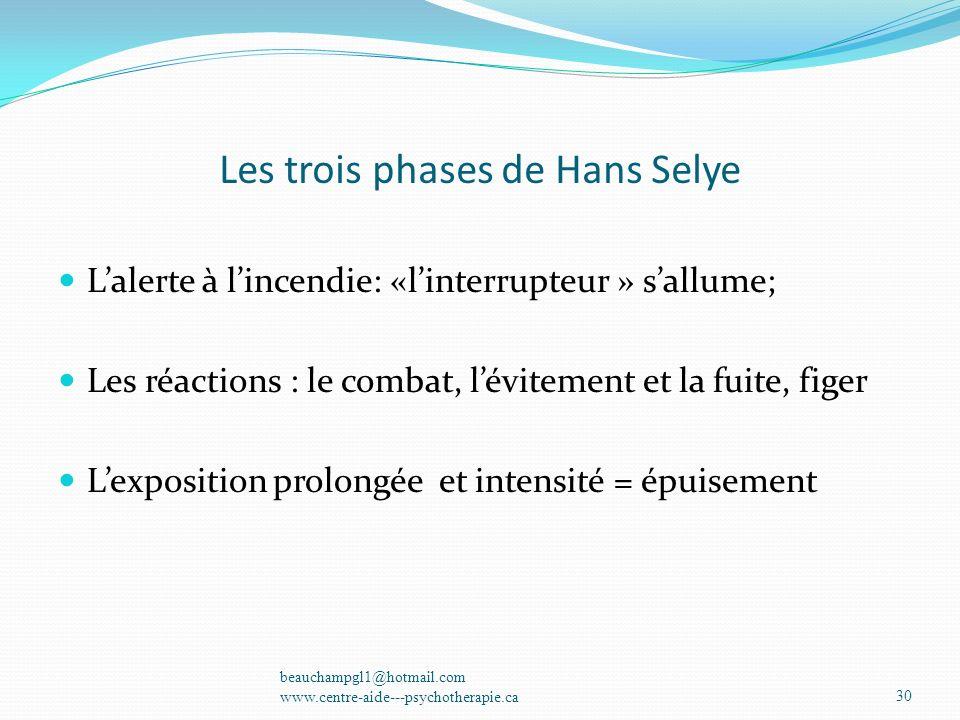 Les trois phases de Hans Selye Lalerte à lincendie: «linterrupteur » sallume; Les réactions : le combat, lévitement et la fuite, figer Lexposition pro