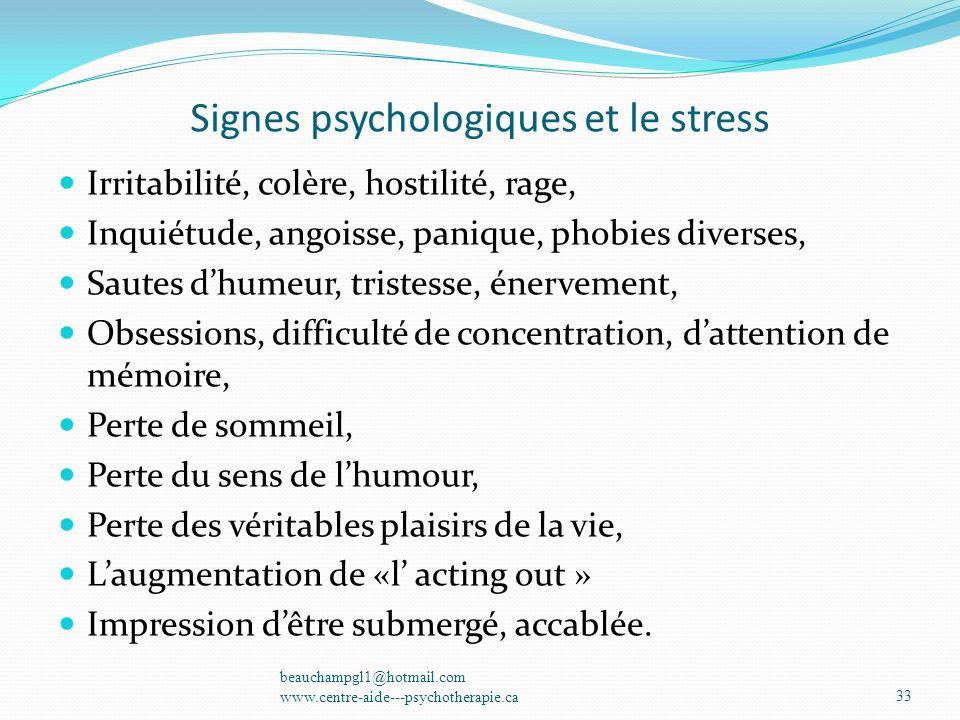 Signes psychologiques et le stress Irritabilité, colère, hostilité, rage, Inquiétude, angoisse, panique, phobies diverses, Sautes dhumeur, tristesse,