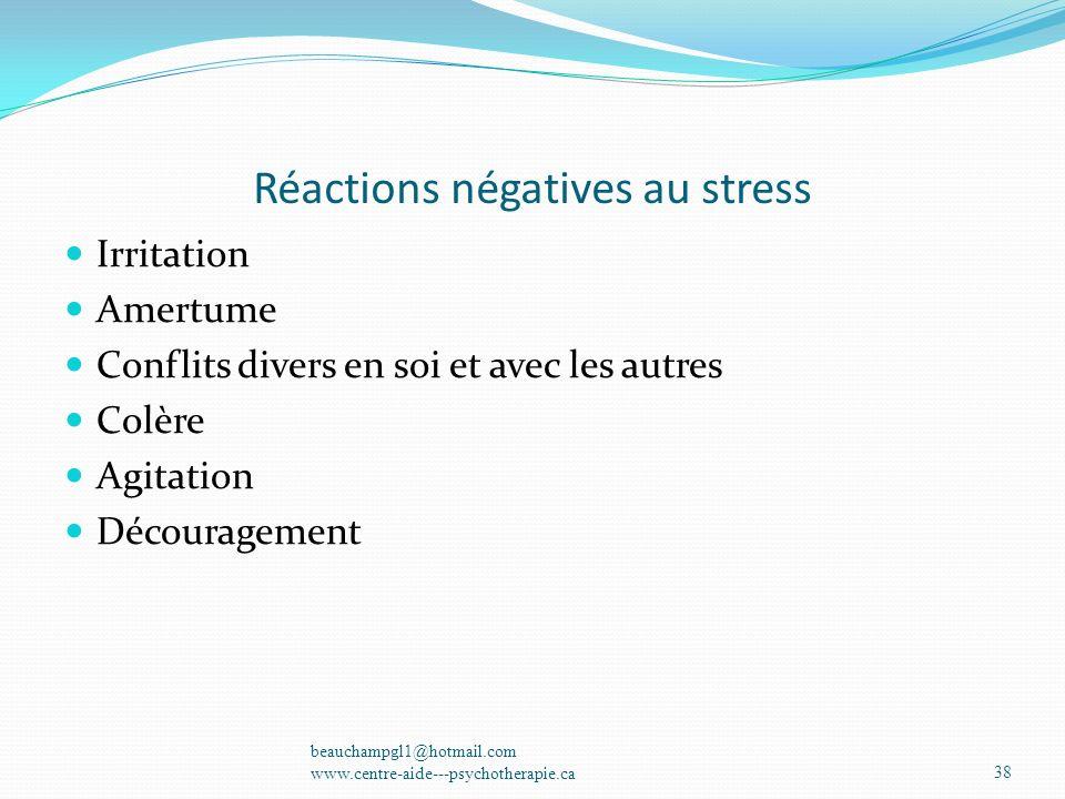 Réactions négatives au stress Irritation Amertume Conflits divers en soi et avec les autres Colère Agitation Découragement beauchampgl1@hotmail.com ww