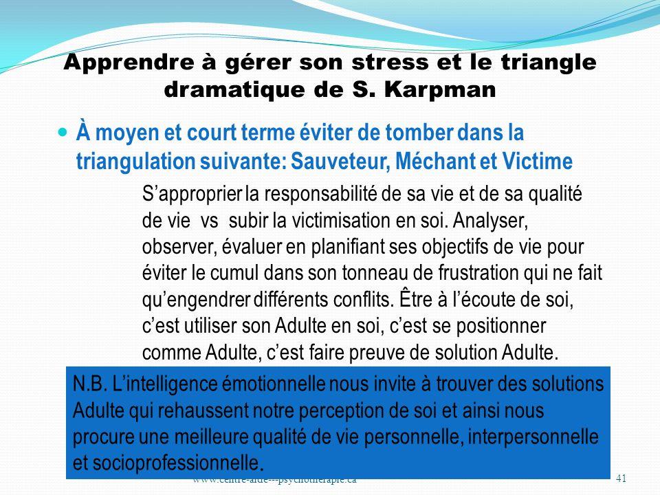 Apprendre à gérer son stress et le triangle dramatique de S. Karpman À moyen et court terme éviter de tomber dans la triangulation suivante: Sauveteur