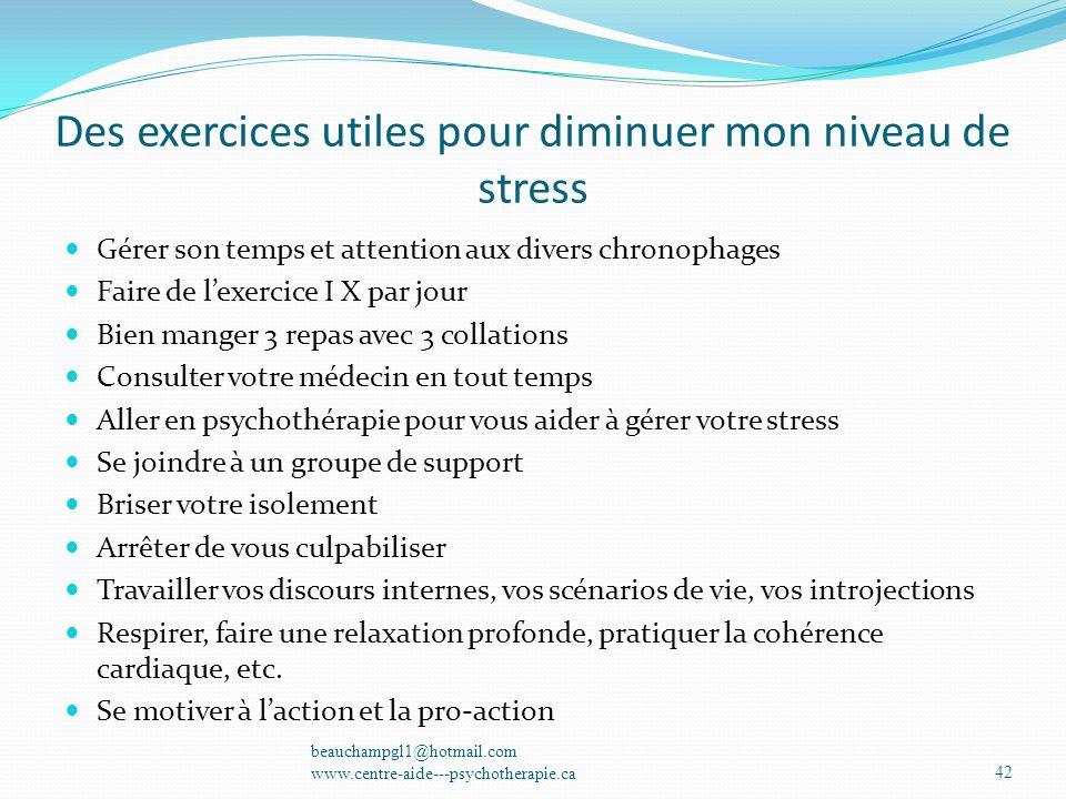 Des exercices utiles pour diminuer mon niveau de stress Gérer son temps et attention aux divers chronophages Faire de lexercice I X par jour Bien mang