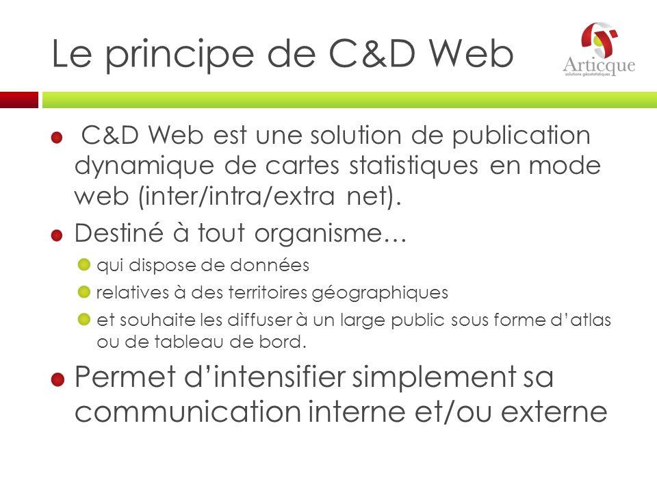 Le principe de C&D Web C&D Web est une solution de publication dynamique de cartes statistiques en mode web (inter/intra/extra net). Destiné à tout or