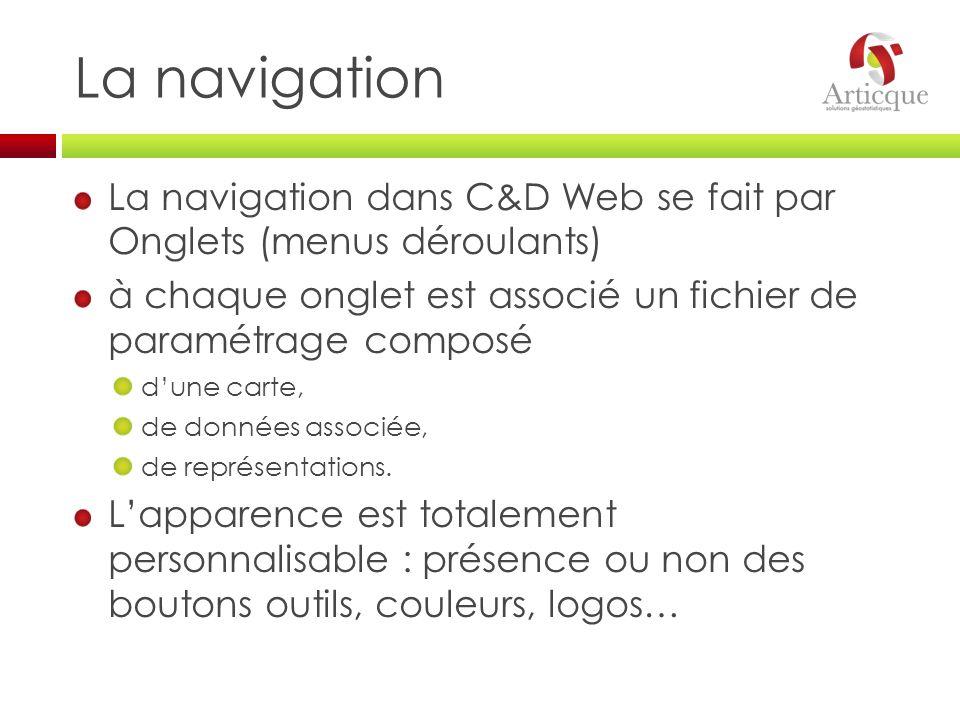 La navigation La navigation dans C&D Web se fait par Onglets (menus déroulants) à chaque onglet est associé un fichier de paramétrage composé dune car