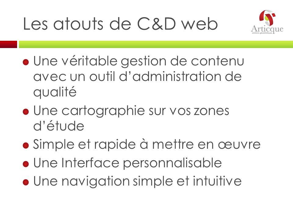 Les atouts de C&D web Une véritable gestion de contenu avec un outil dadministration de qualité Une cartographie sur vos zones détude Simple et rapide
