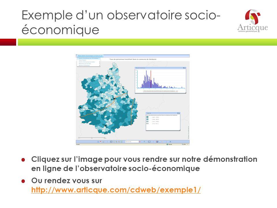 Exemple dun observatoire socio- économique Cliquez sur limage pour vous rendre sur notre démonstration en ligne de lobservatoire socio-économique Ou r