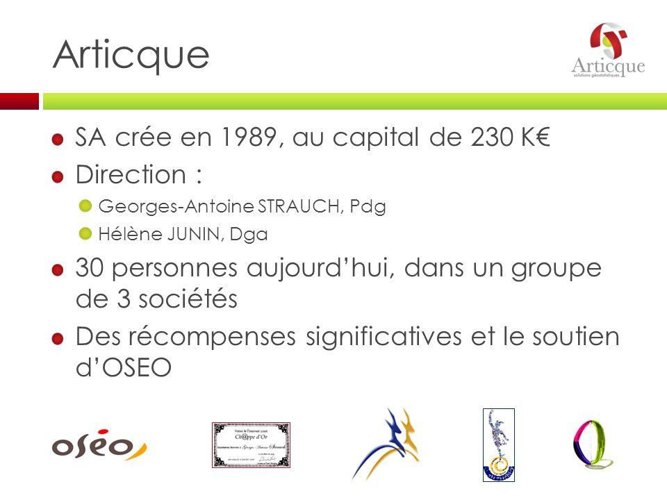 SA crée en 1989, au capital de 230 K Direction : Georges-Antoine STRAUCH, Pdg Hélène JUNIN, Dga 30 personnes aujourdhui, dans un groupe de 3 sociétés