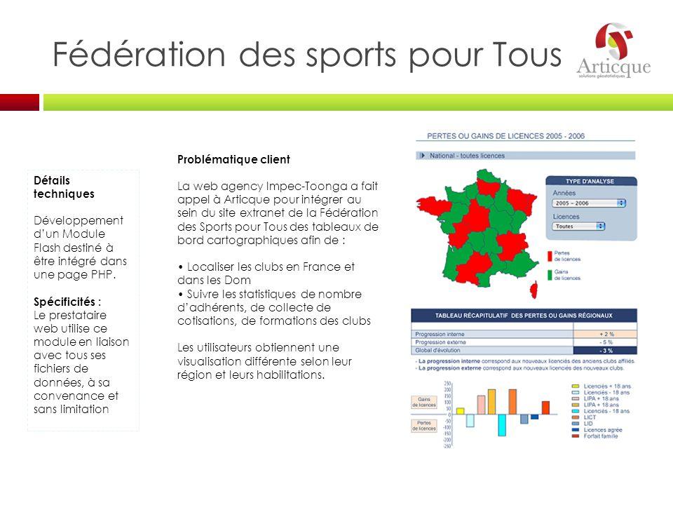 Fédération des sports pour Tous Problématique client La web agency Impec-Toonga a fait appel à Articque pour intégrer au sein du site extranet de la F