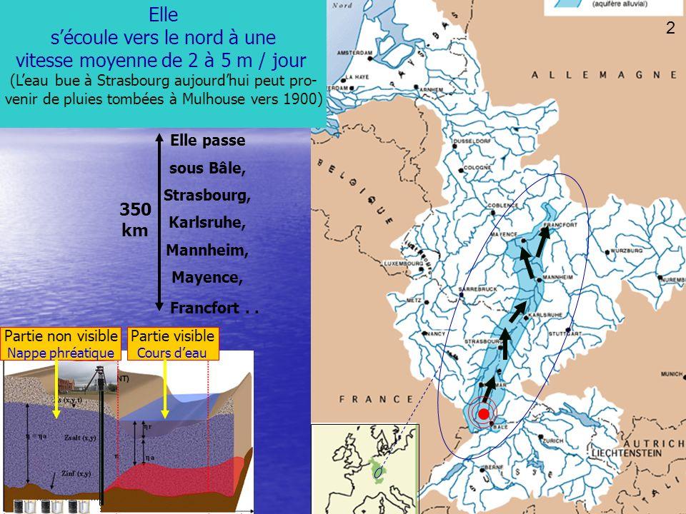 25 11 Elle sécoule vers le nord à une vitesse moyenne de 2 à 5 m / jour (Leau bue à Strasbourg aujourdhui peut pro- venir de pluies tombées à Mulhouse vers 1900) 2 350 km Elle passe sous Bâle, Strasbourg, Karlsruhe, Mannheim, Mayence, Francfort..