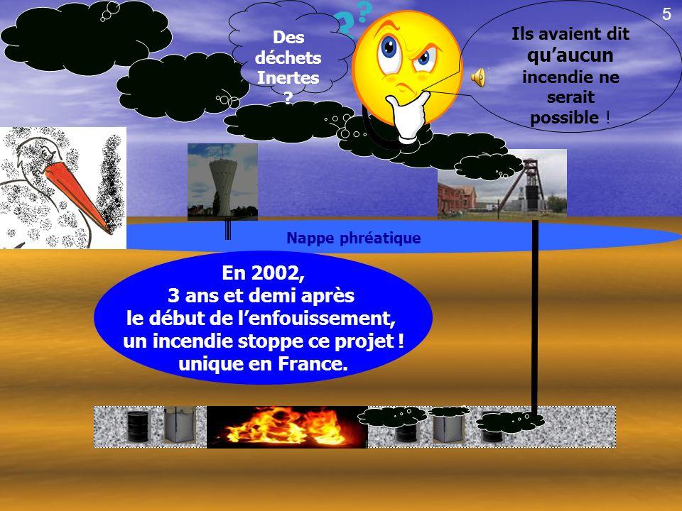 Nappe phréatique En 2002, 3 ans et demi après le début de lenfouissement, un incendie stoppe ce projet .