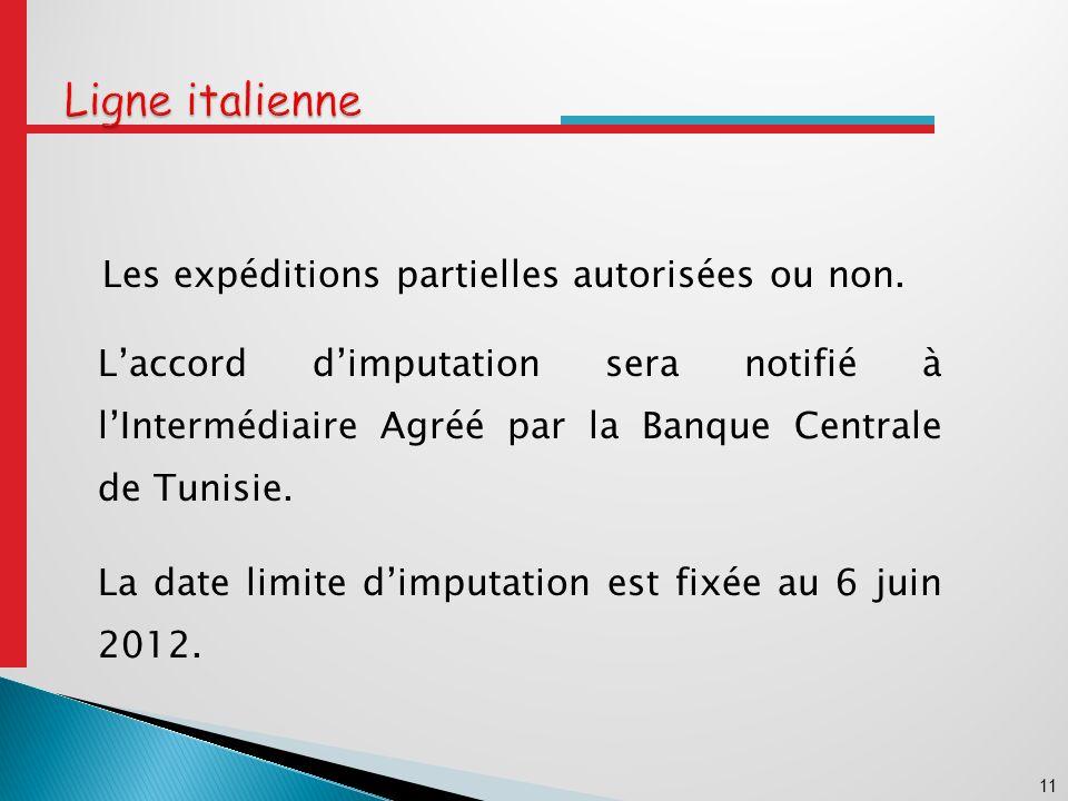 11 Les expéditions partielles autorisées ou non.