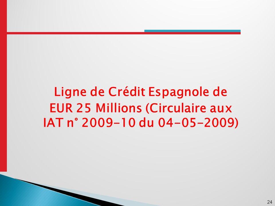 24 Ligne de Crédit Espagnole de EUR 25 Millions (Circulaire aux IAT n° 2009-10 du 04-05-2009)