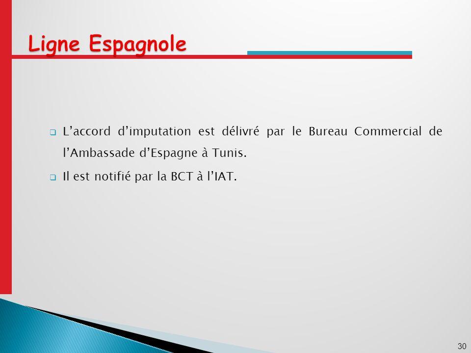 30 Laccord dimputation est délivré par le Bureau Commercial de lAmbassade dEspagne à Tunis.