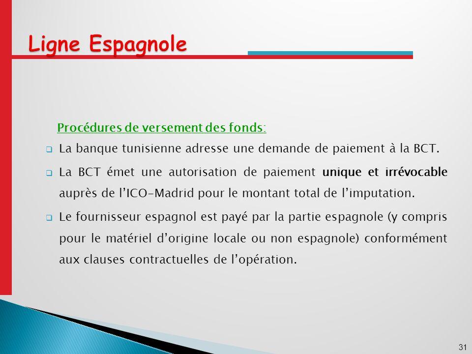 31 Ligne Espagnole Procédures de versement des fonds: La banque tunisienne adresse une demande de paiement à la BCT.