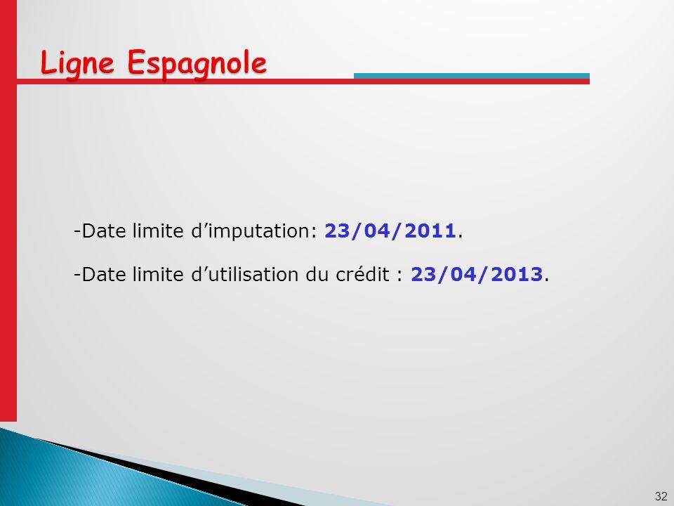 32 -Date limite dimputation: 23/04/2011. -Date limite dutilisation du crédit : 23/04/2013.