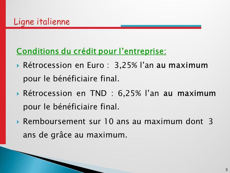 9 Ligne italienne Procédures dimputation: - La demande dimputation doit être instruite et présentée par une banque tunisienne à lAmbassade dItalie à Tunis avec copie à la BCT.