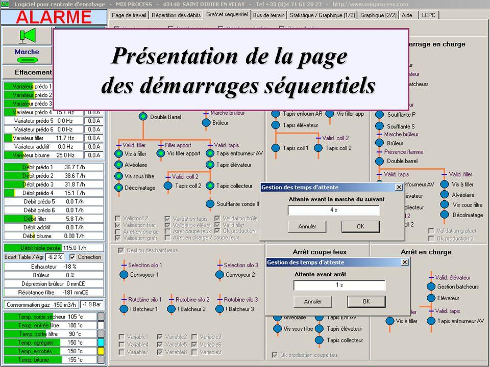 Présentation de la page des démarrages séquentiels Présentation de la page des démarrages séquentiels