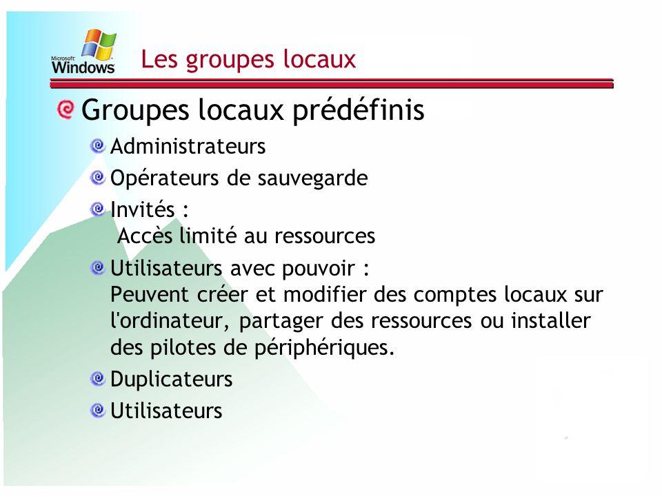 Les groupes locaux Groupes locaux prédéfinis Administrateurs Opérateurs de sauvegarde Invités : Accès limité au ressources Utilisateurs avec pouvoir :