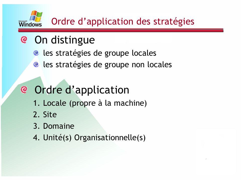 Ordre dapplication des stratégies On distingue les stratégies de groupe locales les stratégies de groupe non locales Ordre dapplication 1.Locale (prop