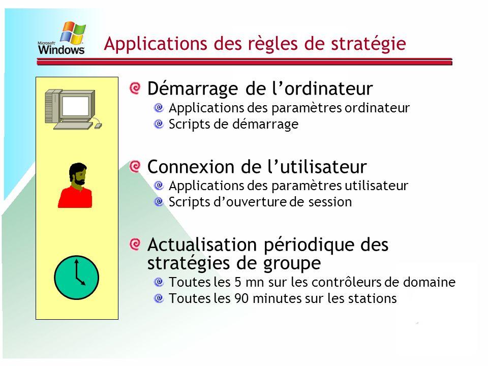 Applications des règles de stratégie Démarrage de lordinateur Applications des paramètres ordinateur Scripts de démarrage Connexion de lutilisateur Ap