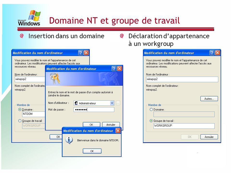 Domaine NT et groupe de travail Insertion dans un domaineDéclaration dappartenance à un workgroup