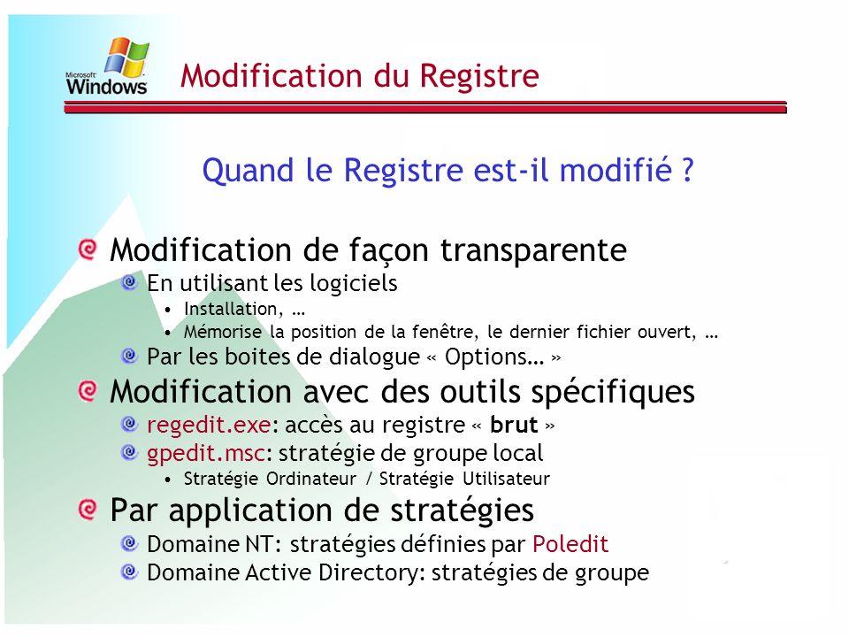 Modification du Registre Quand le Registre est-il modifié ? Modification de façon transparente En utilisant les logiciels Installation, … Mémorise la