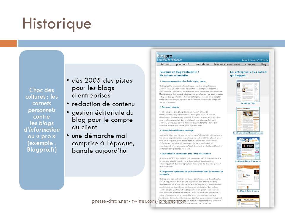 Historique dès 2005 des pistes pour les blogs dentreprises rédaction de contenu gestion éditoriale du blog pour le compte du client une démarche mal c