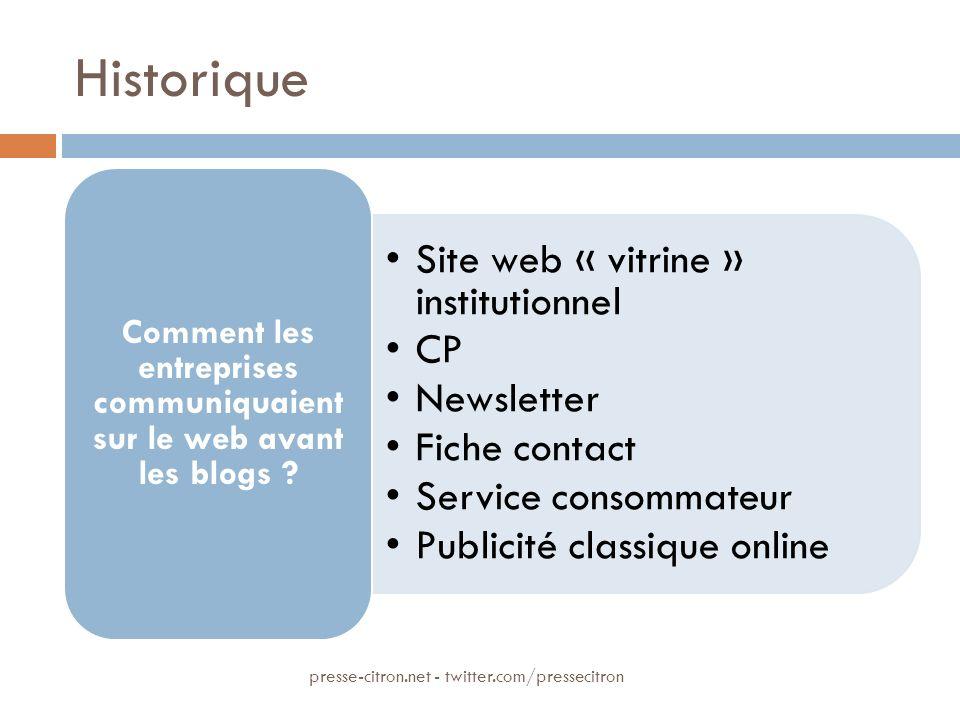 Historique Site web « vitrine » institutionnel CP Newsletter Fiche contact Service consommateur Publicité classique online Comment les entreprises communiquaient sur le web avant les blogs .