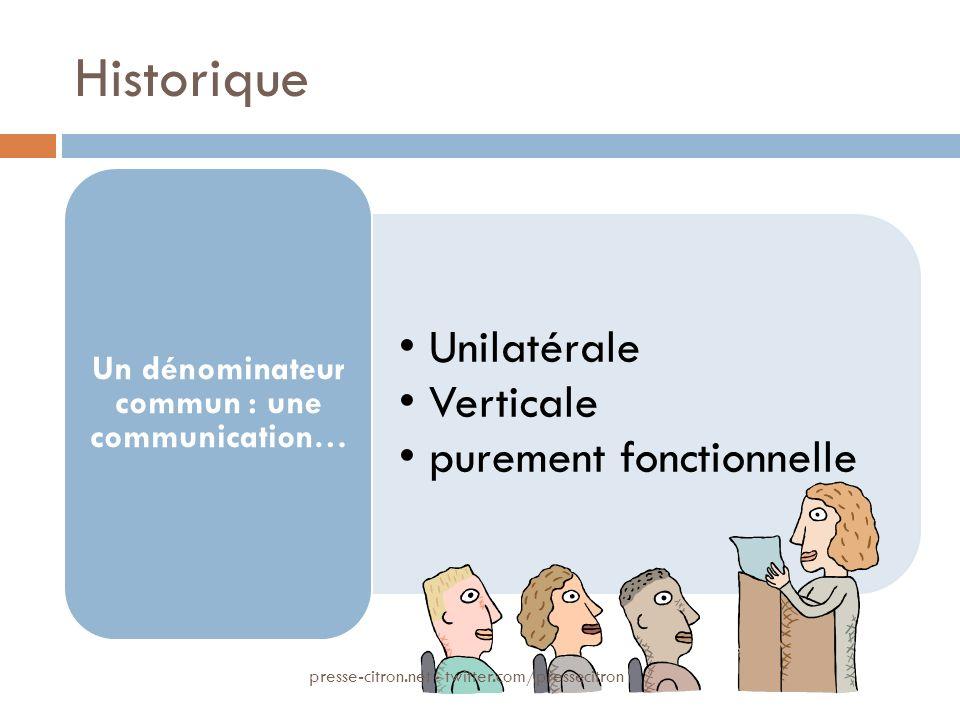 Historique Unilatérale Verticale purement fonctionnelle Un dénominateur commun : une communication… presse-citron.net - twitter.com/pressecitron