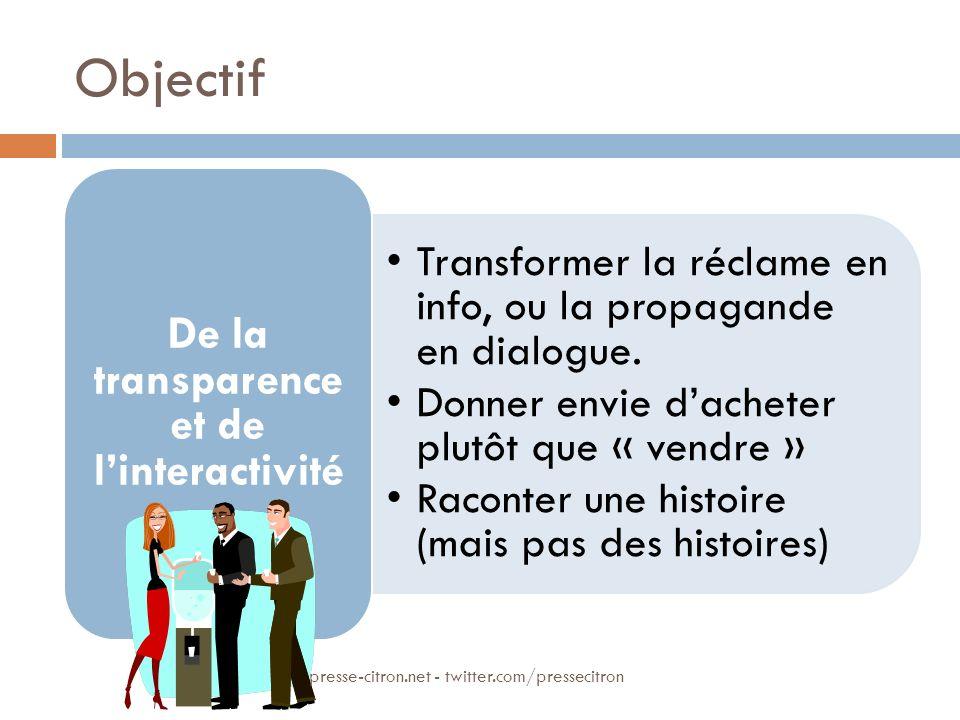 Objectif Transformer la réclame en info, ou la propagande en dialogue. Donner envie dacheter plutôt que « vendre » Raconter une histoire (mais pas des