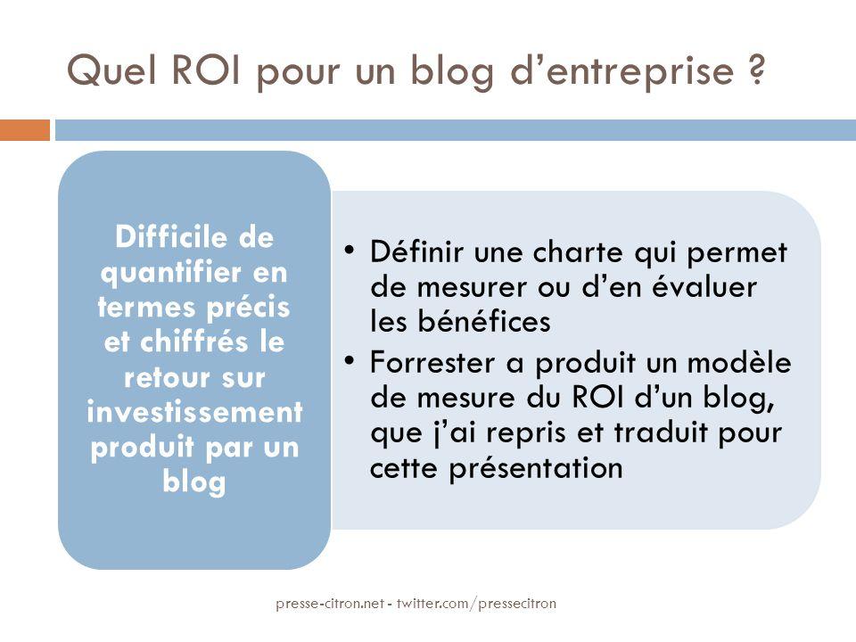 Quel ROI pour un blog dentreprise ? Définir une charte qui permet de mesurer ou den évaluer les bénéfices Forrester a produit un modèle de mesure du R