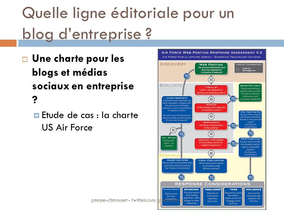 Quelle ligne éditoriale pour un blog dentreprise ? Une charte pour les blogs et médias sociaux en entreprise ? Etude de cas : la charte US Air Force p