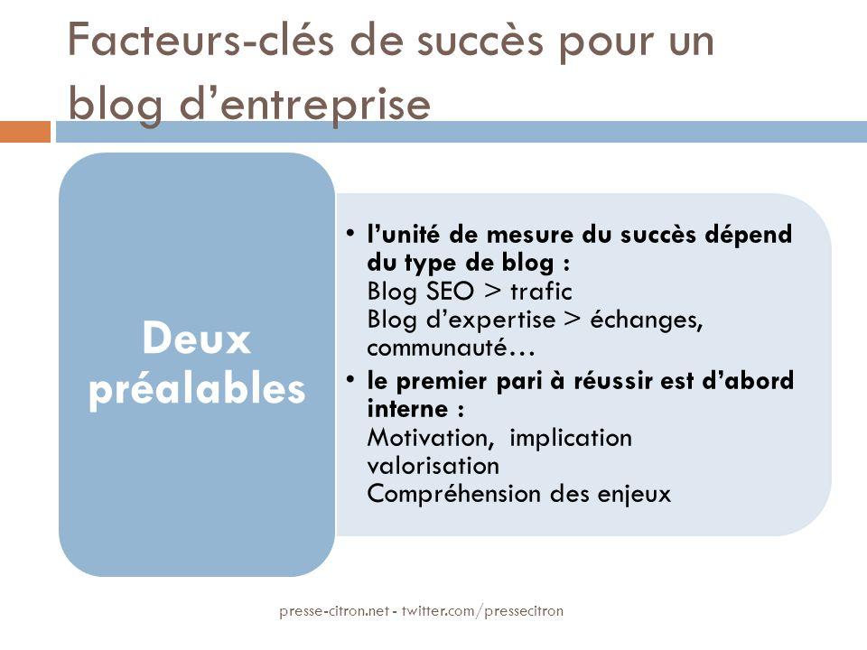 Facteurs-clés de succès pour un blog dentreprise lunité de mesure du succès dépend du type de blog : Blog SEO > trafic Blog dexpertise > échanges, com