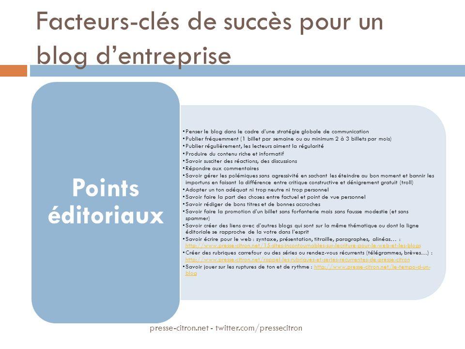 Facteurs-clés de succès pour un blog dentreprise Penser le blog dans le cadre dune stratégie globale de communication Publier fréquemment (1 billet pa