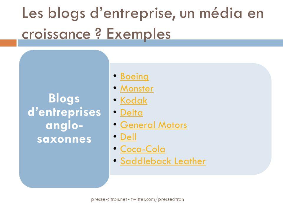 Les blogs dentreprise, un média en croissance .