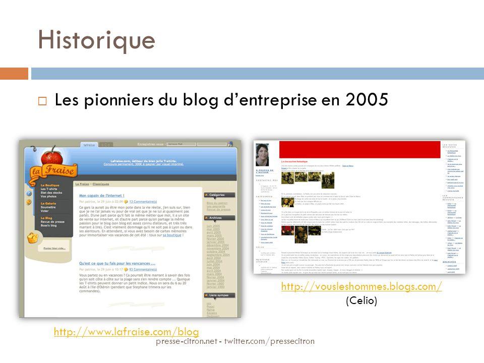 Historique Les pionniers du blog dentreprise en 2005 http://www.lafraise.com/blog http://vousleshommes.blogs.com/ (Celio) presse-citron.net - twitter.
