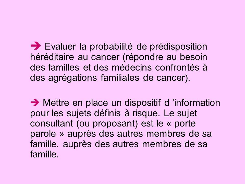 Evaluer la probabilité de prédisposition héréditaire au cancer (répondre au besoin des familles et des médecins confrontés à des agrégations familiale