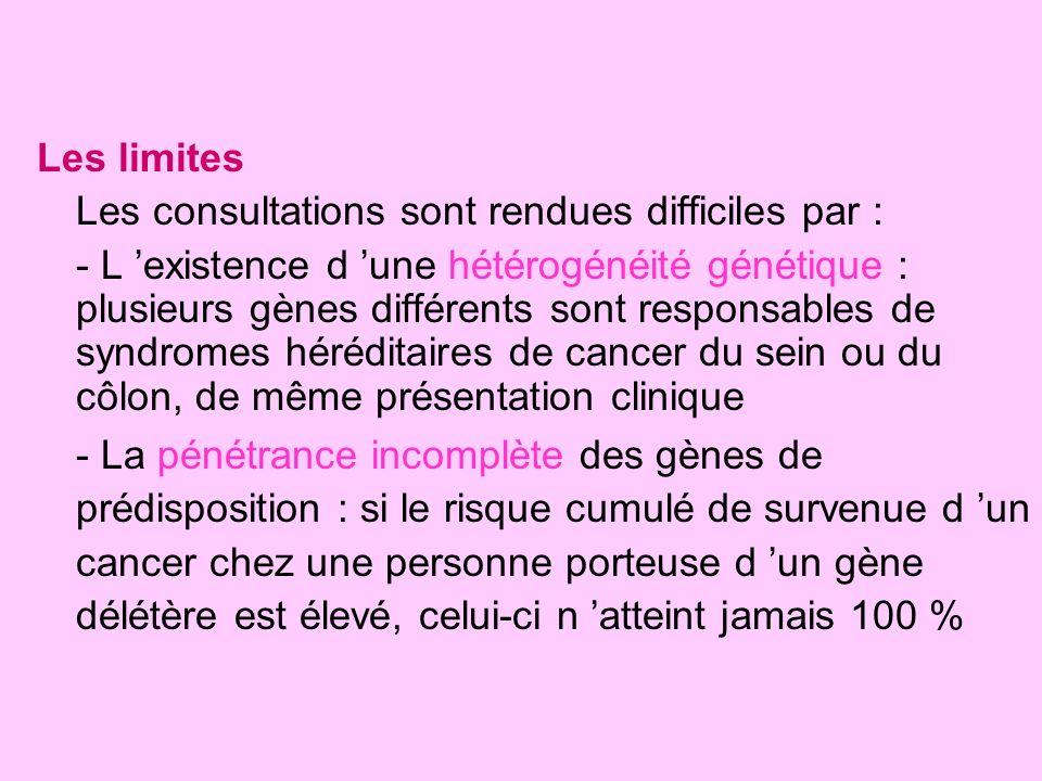 Les limites Les consultations sont rendues difficiles par : - L existence d une hétérogénéité génétique : plusieurs gènes différents sont responsables