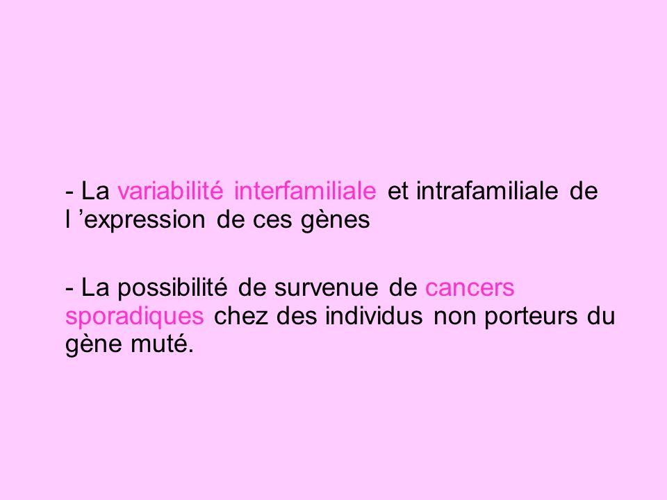 - La variabilité interfamiliale et intrafamiliale de l expression de ces gènes - La possibilité de survenue de cancers sporadiques chez des individus