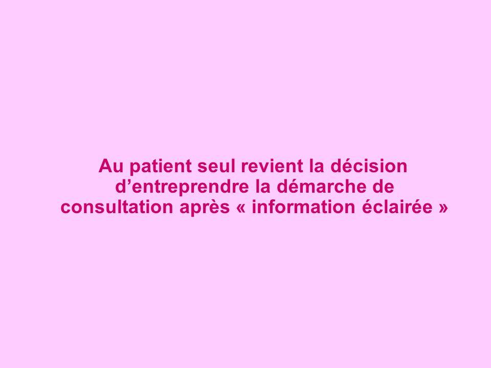 Au patient seul revient la décision dentreprendre la démarche de consultation après « information éclairée »