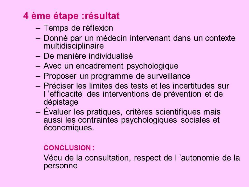 4 ème étape :résultat –Temps de réflexion –Donné par un médecin intervenant dans un contexte multidisciplinaire –De manière individualisé –Avec un enc